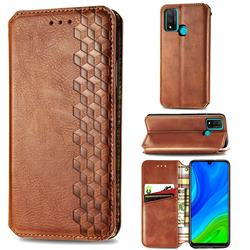Ultra Slim Fashion Business Card Magnetic Automatic Suction Leather Flip Cover for Huawei P Smart (2020) - Brown