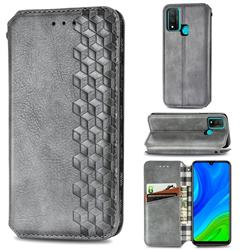 Ultra Slim Fashion Business Card Magnetic Automatic Suction Leather Flip Cover for Huawei P Smart (2020) - Grey