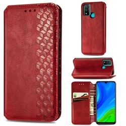 Ultra Slim Fashion Business Card Magnetic Automatic Suction Leather Flip Cover for Huawei P Smart (2020) - Red