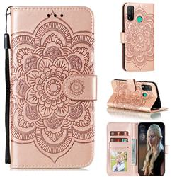 Intricate Embossing Datura Solar Leather Wallet Case for Huawei P Smart (2020) - Rose Gold