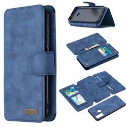 Binfen Color BF07 Frosted Zipper Bag Multifunction Leather Phone Wallet for Huawei P Smart (2020) - Blue