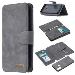 Binfen Color BF07 Frosted Zipper Bag Multifunction Leather Phone Wallet for Huawei P Smart (2020) - Gray