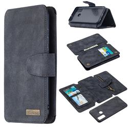 Binfen Color BF07 Frosted Zipper Bag Multifunction Leather Phone Wallet for Huawei P Smart (2020) - Black