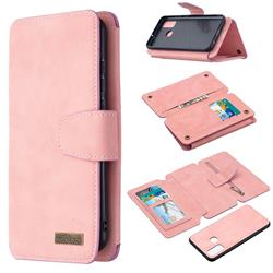 Binfen Color BF07 Frosted Zipper Bag Multifunction Leather Phone Wallet for Huawei P Smart (2020) - Pink