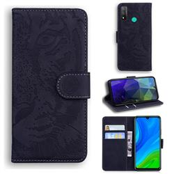 Intricate Embossing Tiger Face Leather Wallet Case for Huawei P Smart (2020) - Black