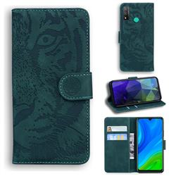 Intricate Embossing Tiger Face Leather Wallet Case for Huawei P Smart (2020) - Green