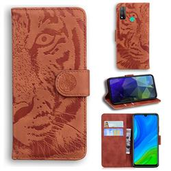 Intricate Embossing Tiger Face Leather Wallet Case for Huawei P Smart (2020) - Brown