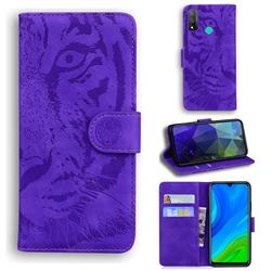 Intricate Embossing Tiger Face Leather Wallet Case for Huawei P Smart (2020) - Purple