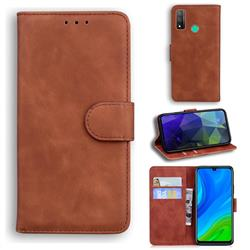 Retro Classic Skin Feel Leather Wallet Phone Case for Huawei P Smart (2020) - Brown