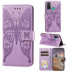 Intricate Embossing Rose Flower Butterfly Leather Wallet Case for Huawei P Smart (2020) - Purple
