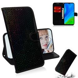 Laser Circle Shining Leather Wallet Phone Case for Huawei P Smart (2020) - Black