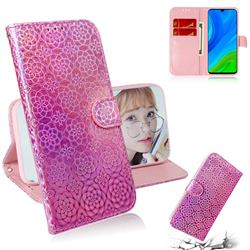 Laser Circle Shining Leather Wallet Phone Case for Huawei P Smart (2020) - Pink