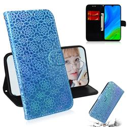 Laser Circle Shining Leather Wallet Phone Case for Huawei P Smart (2020) - Blue