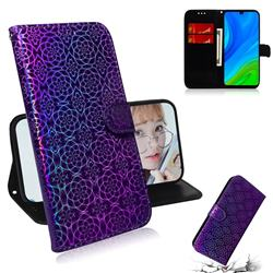 Laser Circle Shining Leather Wallet Phone Case for Huawei P Smart (2020) - Purple