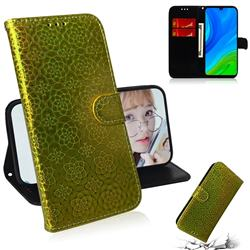 Laser Circle Shining Leather Wallet Phone Case for Huawei P Smart (2020) - Golden