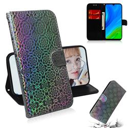 Laser Circle Shining Leather Wallet Phone Case for Huawei P Smart (2020) - Silver