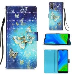 Gold Butterfly 3D Painted Leather Wallet Case for Huawei P Smart (2020)