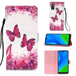 Rose Butterfly 3D Painted Leather Wallet Case for Huawei P Smart (2020)