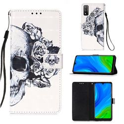 Skull Flower 3D Painted Leather Wallet Case for Huawei P Smart (2020)