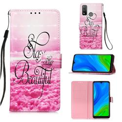 Beautiful 3D Painted Leather Wallet Case for Huawei P Smart (2020)
