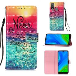 Colorful Dream Catcher 3D Painted Leather Wallet Case for Huawei P Smart (2020)