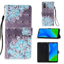 Blue Flower 3D Painted Leather Wallet Case for Huawei P Smart (2020)