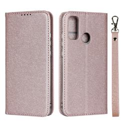 Ultra Slim Magnetic Automatic Suction Silk Lanyard Leather Flip Cover for Huawei P Smart (2020) - Rose Gold
