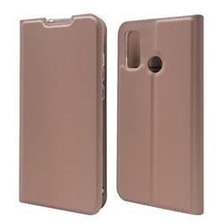 Ultra Slim Card Magnetic Automatic Suction Leather Wallet Case for Huawei P Smart (2020) - Rose Gold