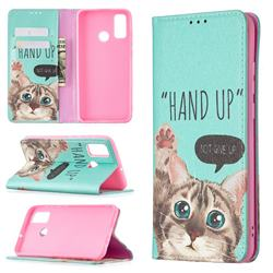 Hand Up Cat Slim Magnetic Attraction Wallet Flip Cover for Huawei P Smart (2020)