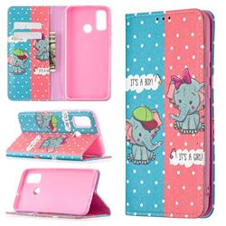 Elephant Boy and Girl Slim Magnetic Attraction Wallet Flip Cover for Huawei P Smart (2020)
