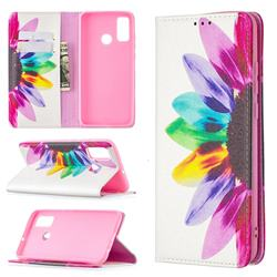 Sun Flower Slim Magnetic Attraction Wallet Flip Cover for Huawei P Smart (2020)
