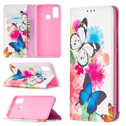 Flying Butterflies Slim Magnetic Attraction Wallet Flip Cover for Huawei P Smart (2020)