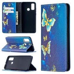 Gold Butterfly Slim Magnetic Attraction Wallet Flip Cover for Huawei P Smart (2020)