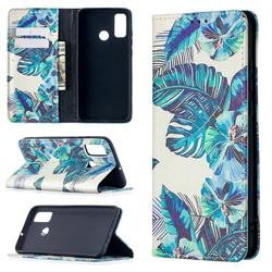 Blue Leaf Slim Magnetic Attraction Wallet Flip Cover for Huawei P Smart (2020)