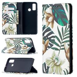 Flower Leaf Slim Magnetic Attraction Wallet Flip Cover for Huawei P Smart (2020)