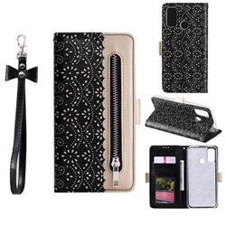 Luxury Lace Zipper Stitching Leather Phone Wallet Case for Huawei P Smart (2020) - Black