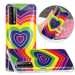 Rainbow Heart Painted Galvanized Electroplating Soft Phone Case Cover for Huawei P smart 2021 / Y7a