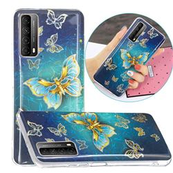 Golden Butterfly Painted Galvanized Electroplating Soft Phone Case Cover for Huawei P smart 2021 / Y7a
