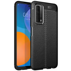 Luxury Auto Focus Litchi Texture Silicone TPU Back Cover for Huawei P smart 2021 / Y7a - Black