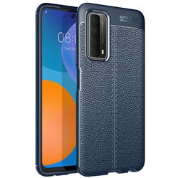 Luxury Auto Focus Litchi Texture Silicone TPU Back Cover for Huawei P smart 2021 / Y7a - Dark Blue