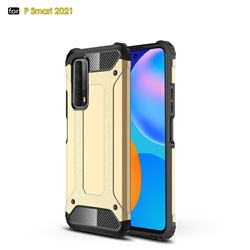 King Kong Armor Premium Shockproof Dual Layer Rugged Hard Cover for Huawei P smart 2021 / Y7a - Champagne Gold