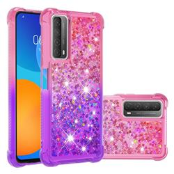 Rainbow Gradient Liquid Glitter Quicksand Sequins Phone Case for Huawei P smart 2021 / Y7a - Pink Purple