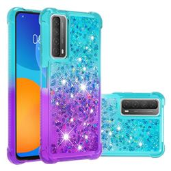 Rainbow Gradient Liquid Glitter Quicksand Sequins Phone Case for Huawei P smart 2021 / Y7a - Blue Purple