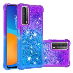 Rainbow Gradient Liquid Glitter Quicksand Sequins Phone Case for Huawei P smart 2021 / Y7a - Purple Blue