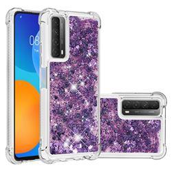Dynamic Liquid Glitter Sand Quicksand Star TPU Case for Huawei P smart 2021 / Y7a - Purple