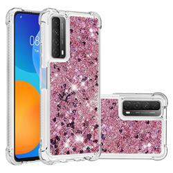 Dynamic Liquid Glitter Sand Quicksand Star TPU Case for Huawei P smart 2021 / Y7a - Diamond Rose
