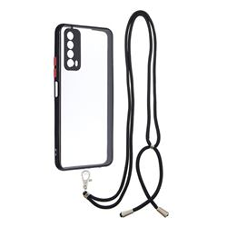 Necklace Cross-body Lanyard Strap Cord Phone Case Cover for Huawei P smart 2021 / Y7a - Black