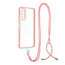 Necklace Cross-body Lanyard Strap Cord Phone Case Cover for Huawei P smart 2021 / Y7a - Pink