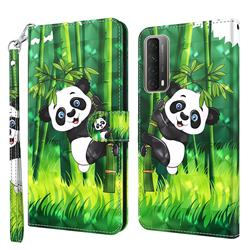 Climbing Bamboo Panda 3D Painted Leather Wallet Case for Huawei P smart 2021 / Y7a