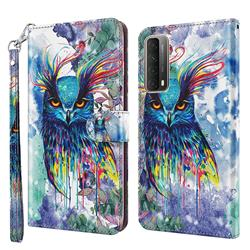Watercolor Owl 3D Painted Leather Wallet Case for Huawei P smart 2021 / Y7a